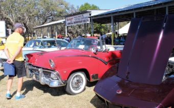 A man looks at several classic cars