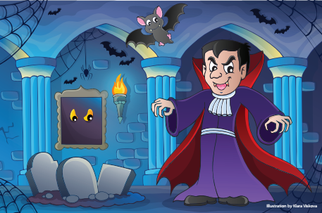 Cartoon vampire in haunted castle