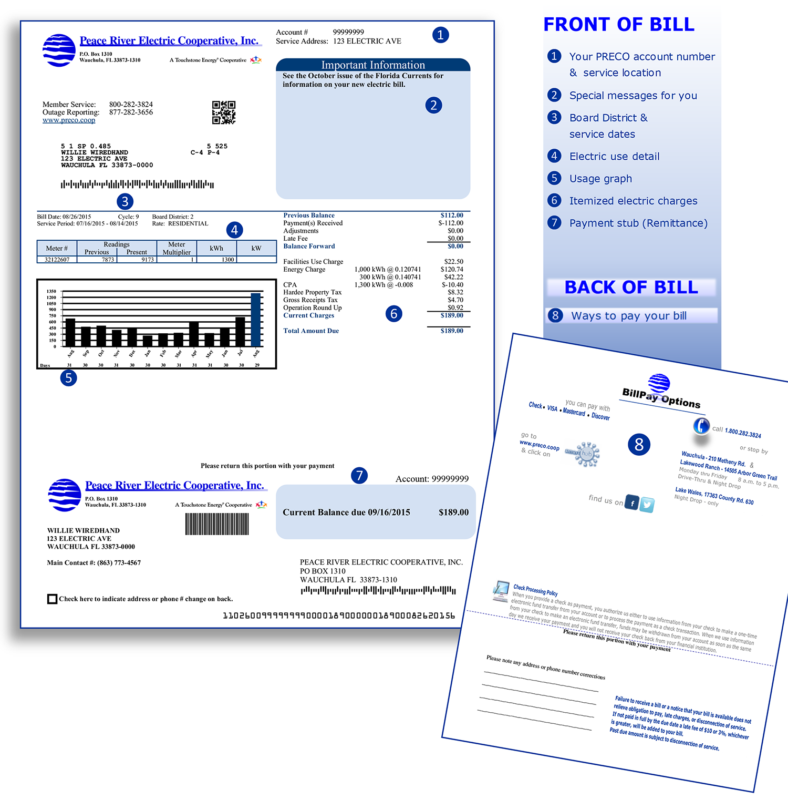Image of a Peace River Electric Bill with detailed explanations.