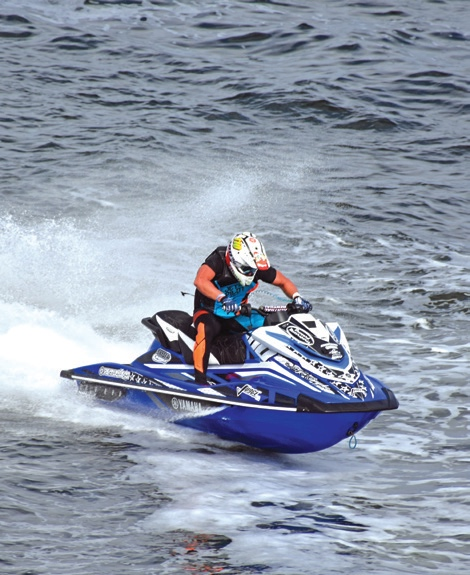A rider on a personal water craft
