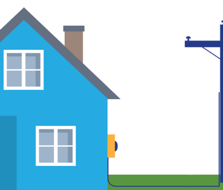 Graphic image illustrates customer's responsibility for line repair