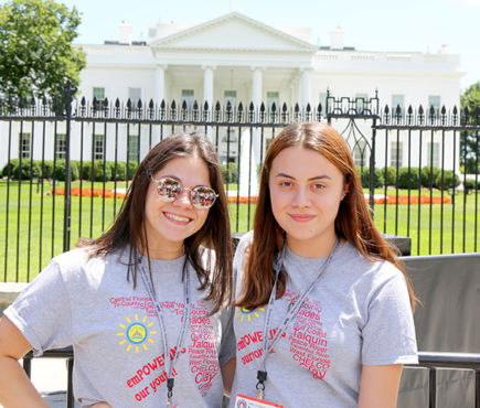 PRECO students Ashleigh Koza (left) and Abby Callejas-Mejia at the White House